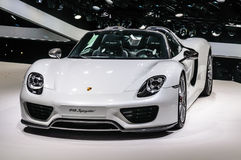 FRANKFURT - SEPT 2015: Porsche 918 Spyder presented at IAA Inter Royalty Free Stock Photography