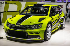 FRANKFURT - SEPT 2015: Skoda Fabia R5 rally car presented at IAA Royalty Free Stock Photography
