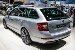 FRANKFURT - SEPT 2015: Skoda Octavia G-Tec presented at IAA International Motor. Show on September 20, 2015 in Frankfurt, Germany Royalty Free Stock Images