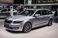 FRANKFURT - SEPT 2015: Skoda Octavia G-Tec presented at IAA International Motor. Show on September 20, 2015 in Frankfurt, Germany Stock Photo