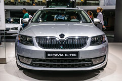 FRANKFURT - SEPT 2015: Skoda Octavia G-Tec presented at IAA International Motor. Show on September 20, 2015 in Frankfurt, Germany Stock Image