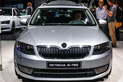 FRANKFURT - SEPT 2015: Skoda Octavia G-Tec presented at IAA International Motor. Show on September 20, 2015 in Frankfurt, Germany Stock Photography
