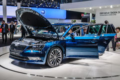 FRANKFURT - SEPT 2015: Skoda Superb Combi presented at IAA International Motor Stock Photos