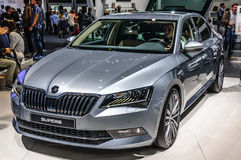 FRANKFURT - SEPT 2015: Skoda Superb Sportline presented at IAA International Motor Royalty Free Stock Photo