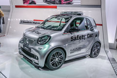 FRANKFURT - SEPT 2015: smart fortwo safety car presented at IAA. International Motor Show on September 20, 2015 in Frankfurt, Germany Royalty Free Stock Photography