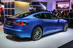 FRANKFURT - SEPT 2015: Tesla Model S Brabus presented at IAA Int Stock Photo