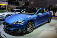 FRANKFURT - SEPT 2015: Tesla Model S Brabus presented at IAA Int Royalty Free Stock Photos