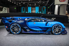 FRANKFURT - SEPT. 2015: Vision Gran Turismo Bugattis Chiron stellte sich am IAA-International-Motor dar Stockfoto