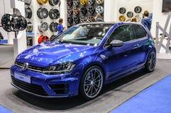FRANKFURT - SEPT. 2015: Vokswagen VW Golf R bij IAA Inte wordt voorgesteld die Royalty-vrije Stock Foto