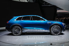 FRANKFURT - SEPT. 2015: Voorgestelde het Concept van Audi e-Tron Quattro Royalty-vrije Stock Fotografie