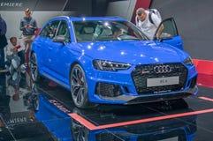 Audi RS4 avant. Frankfurt-September 20: World premiere of Audi RS4 avant at the Frankfurt International Motor Show on September 20, 2017 in Frankfurt stock images