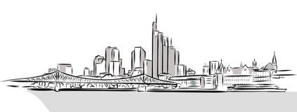 Frankfurt skissar den huvudsakliga i stadens centrum översikten Fotografering för Bildbyråer