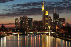 Frankfurt Skyline. Skyline of the German financial center Frankfurt in the evening royalty free stock image