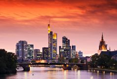 Frankfurt Skyline. Frankfurt's Skyline after Sunset Stock Photo