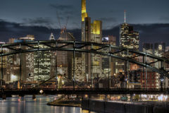 Frankfurt Skyline Through Bridge Royalty Free Stock Images