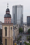 Frankfurt skyline and church Royalty Free Stock Image
