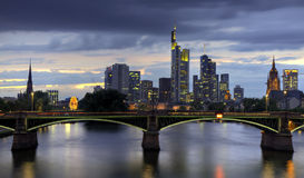 Frankfurt skyline at dusk Royalty Free Stock Images