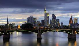 Frankfurt skyline at dusk Royalty Free Stock Images
