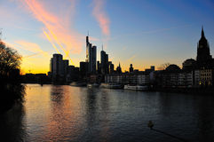 Frankfurt skyline at dusk. View over the river Main to the skyline of the banking city Frankfurt in Germany royalty free stock photo