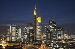 Frankfurt skyline in the evening Stock Photos