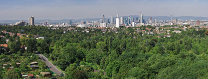 Frankfurt Skyline and Forest. The Frankfurt Skyline and city forest with suburbs in foreground Stock Images