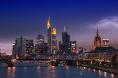 Frankfurt Skyline, Germany. At night with famous skyscrapers Stock Photo