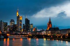 Frankfurt Skyline, Germany at night Stock Image
