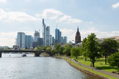 Frankfurt skyline in Germany. During summer Royalty Free Stock Photography
