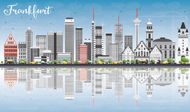 Frankfurt Skyline with Gray Buildings, Blue Sky and Reflections. Royalty Free Stock Image