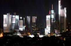 Frankfurt Skyline Lit up. At night with searchlights Stock Photos