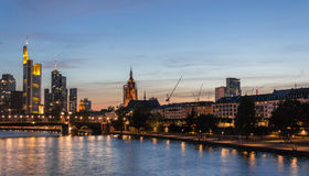 Frankfurt Skyline Reflection on Main River at Sunset Royalty Free Stock Photos