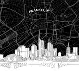 Frankfurt skyline with map vector illustration
