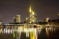 The Frankfurt skyline at night Royalty Free Stock Photos