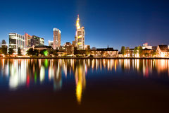 Frankfurt skyline at night Stock Images