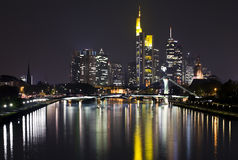 Frankfurt skyline at night Royalty Free Stock Photo