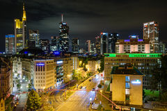 Frankfurt Skyline at Night Royalty Free Stock Photos