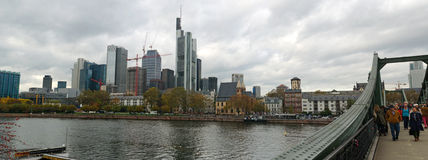 Frankfurt skyline panorama stock photo