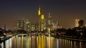 Frankfurt Skyline Panorama at Night. Reflecting in the Main River, Germany Royalty Free Stock Images