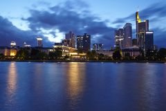 Frankfurt - Skyline with rain clouds in the evening Stock Photo