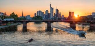 Frankfurt skyline at sunset Stock Images