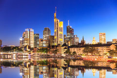 Frankfurt skyline during sunset blue hour. Royalty Free Stock Image
