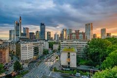 Frankfurt Skyline at Sunset Stock Image