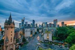 Frankfurt Skyline at Sunset Royalty Free Stock Image