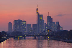 Frankfurt Skyline at Twilight Stock Image