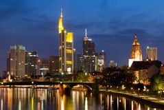 Frankfurt Skyline at Twilight Royalty Free Stock Photos