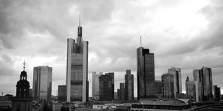 Frankfurt Skyline under Dramatic Sky Stock Photos