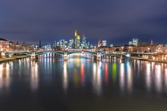 Cityscape with skyline, Financial District and Main river at night, Frankfurt Germany. Frankfurt Skyline view at Night, Germany royalty free stock images