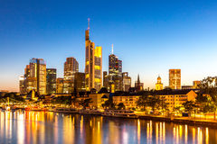 Frankfurt Skyscraper Germany dusk Stock Image