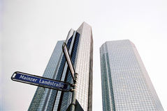 Frankfurt skyscrapers. Skyscrapers in Frankfurt Main, Germany and street sign Royalty Free Stock Photography