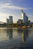 Frankfurt skyscrapers and waterfront at dusk Royalty Free Stock Photos